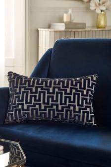 Navy Blue Fretwork Velvet Rectangle Cushion
