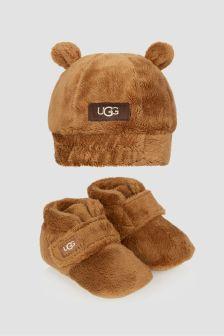 UGG Baby Brown Bixbee Booties And Beanie Gift Set