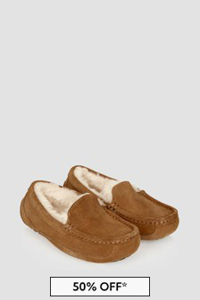 UGG Boys Brown Ascot Slippers