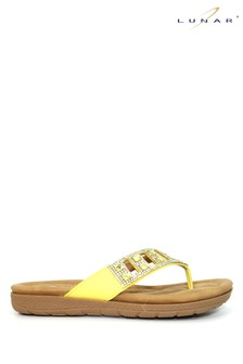 Lunar Yellow Ariel Toe Post Mule Sandals