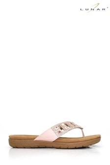 Lunar Pink Ariel Toe Post Mule Sandals