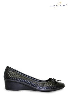 Lunar Black Geneva Low Wedge Shoes