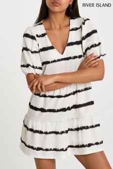 River Island Cream V-Neck Puff Sleeve Tie Dye Smock Dress