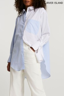 River Island Light Blue Long Sleeve Mixed Stripe Shirt