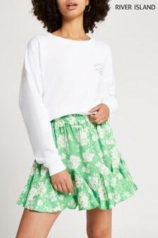 River Island Green Flouncy Mini Skirt