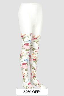 Monnalisa Girls Cotton Flower Tights
