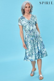Spirit Palm Print Midi Dress