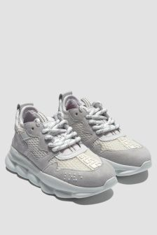 Versace Boys Grey/White Trainers