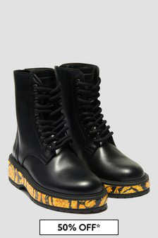Versace Girls Black Boots