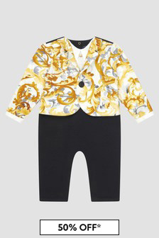 Versace Baby Boys White Rompersuit