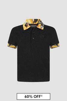 Versace Boys Black Polo Shirt
