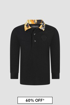 Versace Baby Boys Black Polo Shirt