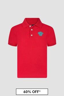 Versace Boys Red Polo Shirt