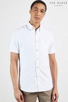 Ted Baker White Yasai Short Sleeve Polynosic Oxford Shirt