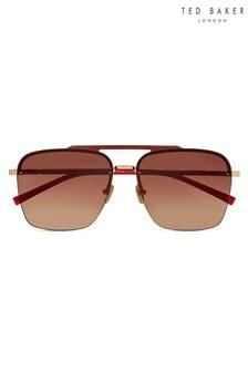 Ted Baker Burgundy Flat Rectangular Frame Sunglasses