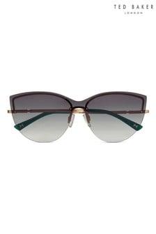 Ted Baker Gold & Green Rimless Cat Eye Sunglasses