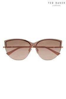 Ted Baker Rose Gold & Pink Rimless Cat Eye Sunglasses