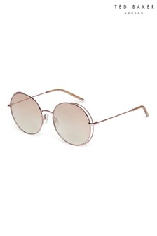 Ted Baker Coffee Gold Fashion Metal Round Sunglasses With Double Rim