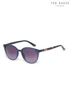 Ted Baker Panto Navy Sunglasses With Floral Print Temples