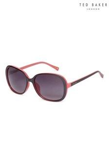 Ted Baker Metallic Black & Coral Oversized Fashion Sunglasses