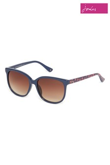 Joules Navy Round Sunglasses With Floral Printed Temples
