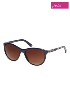 Joules Navy Round Sunglasses With Floral Print Temples