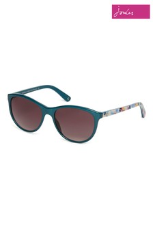 Joules Teal Round Sunglasses With Floral Print Temples