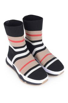 Burberry Kids Black Striped Sock Trainers