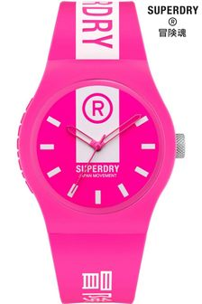 Superdry Pink And White Printed Soft Touch Silicone Watch