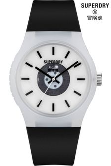 Superdry Black Soft Touch Silicone Watch With White Dial