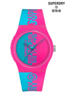 Superdry Pink And Aqua Printed Silicone Soft Touch Watch