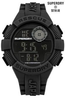 Superdry Radar Black Silicone Strap Watch With Digital Dial