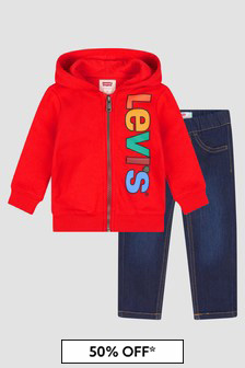 Levis Kidswear Baby Boys Red Set