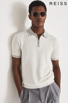 REISS Scotty Cotton Silk Blend Zip Neck Polo Shirt