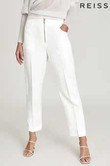 REISS Cally Linen Blend Trousers With Exposed Zip Detail