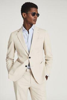 REISS Train Cotton Linen Blend Slim Fit Blazer