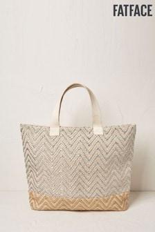 FatFace Silver Metallic Woven Tote Bag