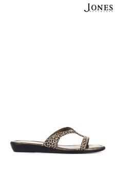 Jones Bootmaker Klevina Ladies Leather Leopard Print Mule Sandals