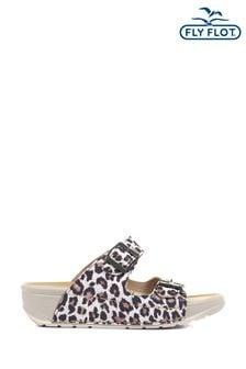 Fly Flot Ladies Leopard Print Mule Sandals