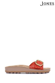 Jones Bootmaker Red South Beach Ladies Buckle Mule Sandals