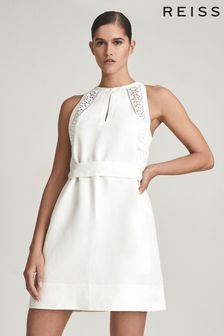 REISS Rhona Embroidered Mini Dress