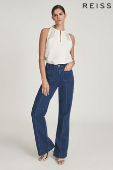 REISS Lois Embroidered Sleeveless Top