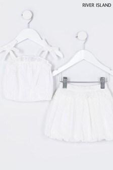 River Island White Cami And Puff Ball Skirt Set