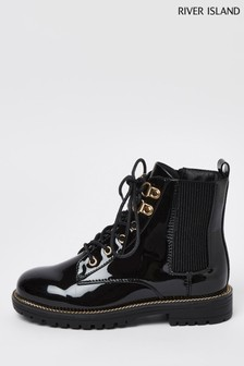 River Island Black Lace-Up Boots