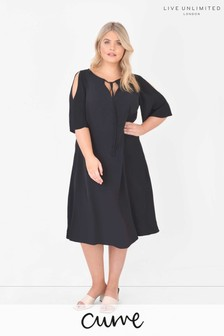 Live Unlimited Curve Sustainable Viscose Black Swing Dress