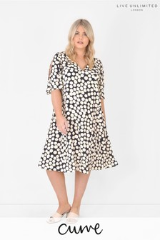 Live Unlimited Curve Sustainable Viscose Spot Swing Dress
