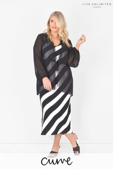 Live Unlimited Curve Stripe Maxi Dress With Overlay Jacket