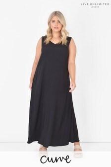 Live Unlimited Curve Black Sustainable Viscose Maxi Dress