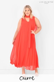 Live Unlimited Curve Red Tie Neck Maxi Dress