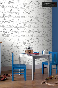 Arthouse White Space Wipe Clean Whiteboard Childrens Wallpaper